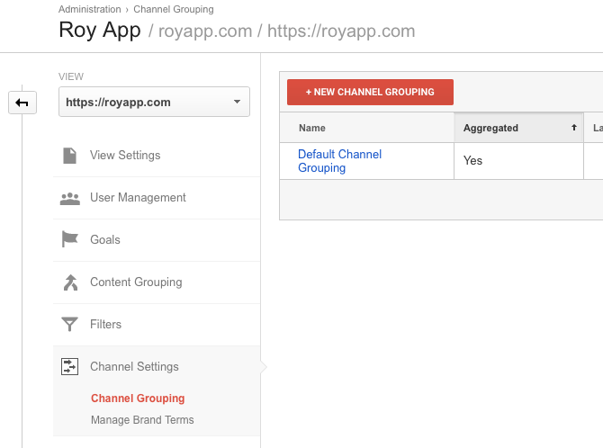 Google Analytics View Admin Channel Grouping